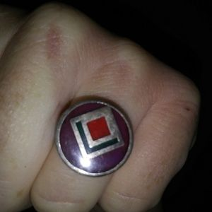 Antique Ring.Beautiful.Purple.Red.Green.Silver.